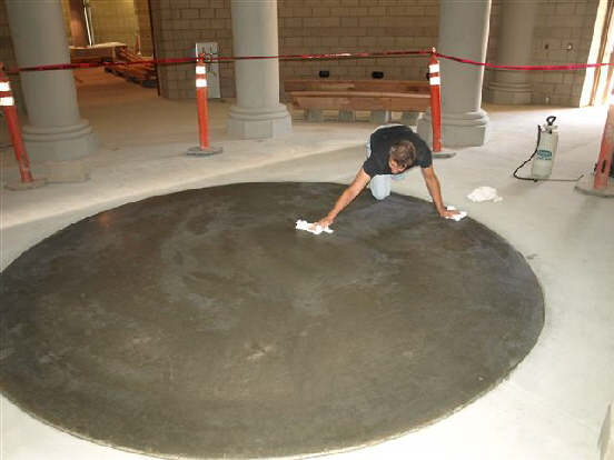 Newly poured concrete.